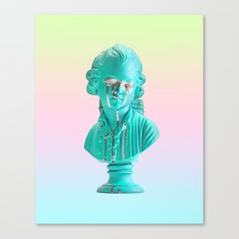 Bust of a Weeping Man (In Ice Blue Gradient) Canvas Print