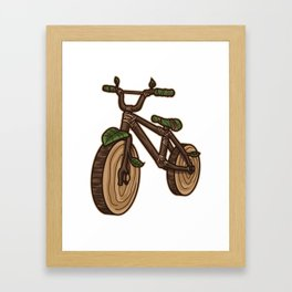 Nature Bicycle   Wooden Earth Day Illustration Framed Art Print