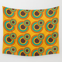 1970's Retro Circles Design Orange Brown & Blue Wall Tapestry
