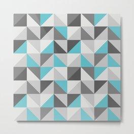 Neon cyan triangles pattern Metal Print