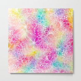 Bright neon pink turquoise purple yellow watercolor white floral illustration pattern Metal Print