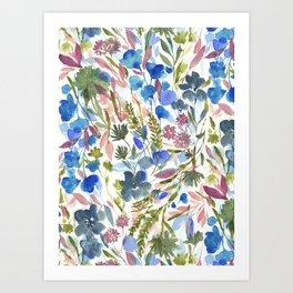 Upside Floral Olive Magenta Art Print