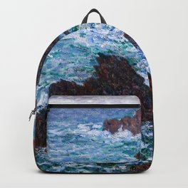 Claude Monet - The Rocks at Belle-Ile, the Wild Coast Backpack