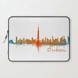 Dubai, emirates, City Cityscape Skyline watercolor art v2 Laptop Sleeve