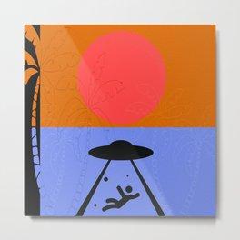 Minimal Sunset Alien Metal Print