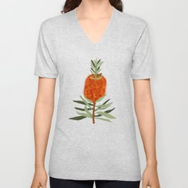 Bottlebrush Flower - White Unisex V-Neck
