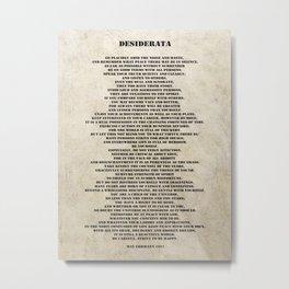 Desiderata Poem By Max Ehrmann Nr. 1001-3 Metal Print