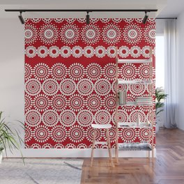 Cute Red Crochet Lace Flowers  Wall Mural