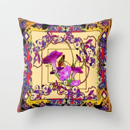 Red Decorative  Blue Purple Vining Flowers Patterns  Art Throw Pillow