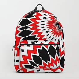 Bizarre Red Black and White Pattern Backpack