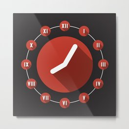 Clock Flat design with Roman Numbers and long shadow Metal Print