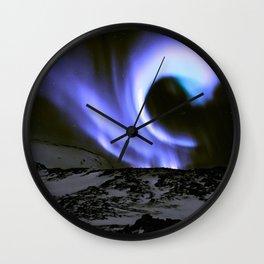 Aurora Borealis Mountains Periwinkle Lavender Wall Clock