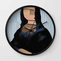anaconda Wall Clocks featuring Mona Lisa - blue shining WoodCut Collage by Marko Köppe