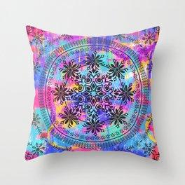 Colors Spash Mandala Throw Pillow