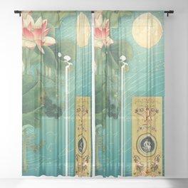 Chinese Lotus Full Moon Garden :: Fine Art Collage Sheer Curtain
