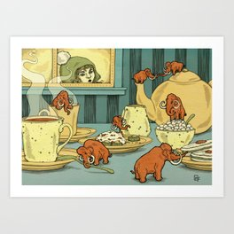 Tiny Mammoths In My Tea Art Print