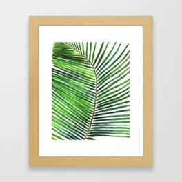 Palm watercolor leaf- Tropical print Framed Art Print