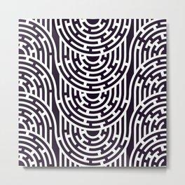 Seamless Maze Pattern with Tangled Stripes Metal Print
