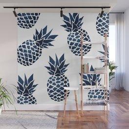 Pineapple Blue Denim Wall Mural