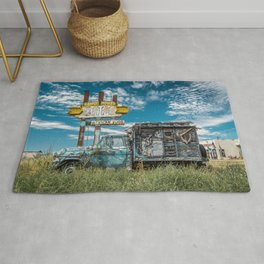 Ranch House Cafe sign and Apache Camper Truck Route 66 Tucumcari New Mexico Rug