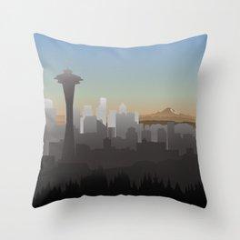 Seattle Skyline Sunset Throw Pillow