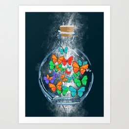 Bottled Butterflies Art Print