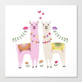 Llama Pattern Canvas Print