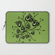 Abstract Floral With Pointy Leaves In Black And Greenery Laptop Sleeve