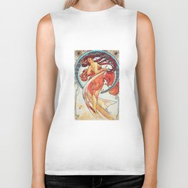 Alphonse Mucha Dance Art Nouveau Watercolor Painting Biker Tank