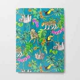 Rainforest Friends - watercolor animals on textured teal Metal Print