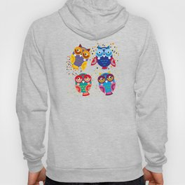 colorful owls on a blue background Hoody