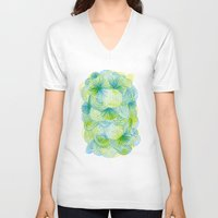 lime V-neck T-shirts featuring Space lime by Marcelo Romero