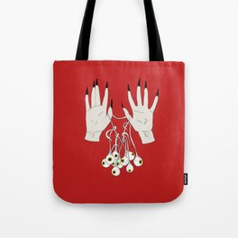 Creepy Hands Holding Eyes Tote Bag
