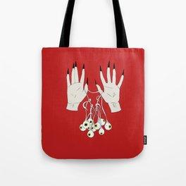 Creepy Hands Holding Eyes Tote Bag