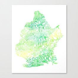 Typographic Brooklyn - Green Watercolor map art Canvas Print
