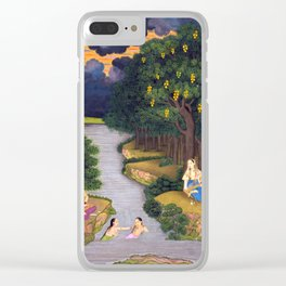 Women enjoying the river at the forest's edge - Vintage Indian Art Pride Clear iPhone Case
