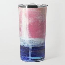 Flourescent Waterfall Painting. Waterfall, Abstract, Blue, Pink. Water. Jodilynpaintings. Travel Mug