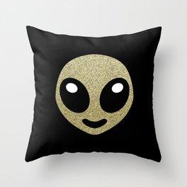 Alien smiley Throw Pillow