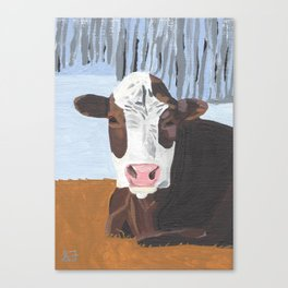 Cow In The Winter Canvas Print