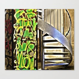 Graffiti And Metal Stairs Canvas Print