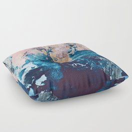 Breathe Again: a vibrant mixed-media piece in blues pinks and gold by Alyssa Hamilton Art Floor Pillow