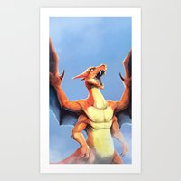 charizard Art Prints featuring Charizard    by Default Pixel