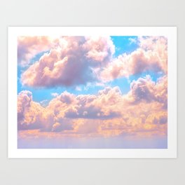 Beautiful Pink Cotton Candy Clouds Against Baby Blue Sky Fairytale Magical Sky Art Print