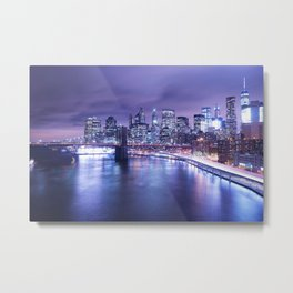 New York City Night Lights : Periwinkle Blue Metal Print