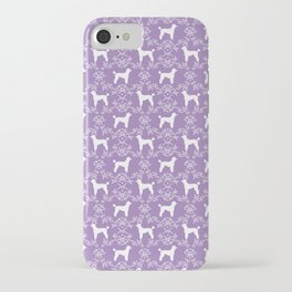 Poodle silhouette floral pattern minimal dog patterns for poodles owners lilac and white iPhone Case