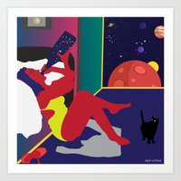 Drinking Champagne in Outer Space Art Print