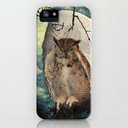 Great Horned Owl Bird Moon Tree A138 iPhone Case