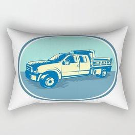 Tipper Pick-up Truck Oval Woodcut Rectangular Pillow