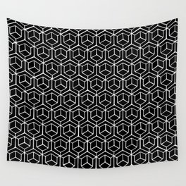 Hand Drawn Hypercube Black Wall Tapestry