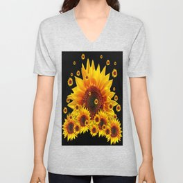 Raining Yellow Sunflowers Decorative Black Pattern  Unisex V-Neck